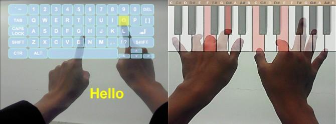 K-글라스로 만든가상현실 키보드와 피아노 건반의 모습 - KAIST 제공